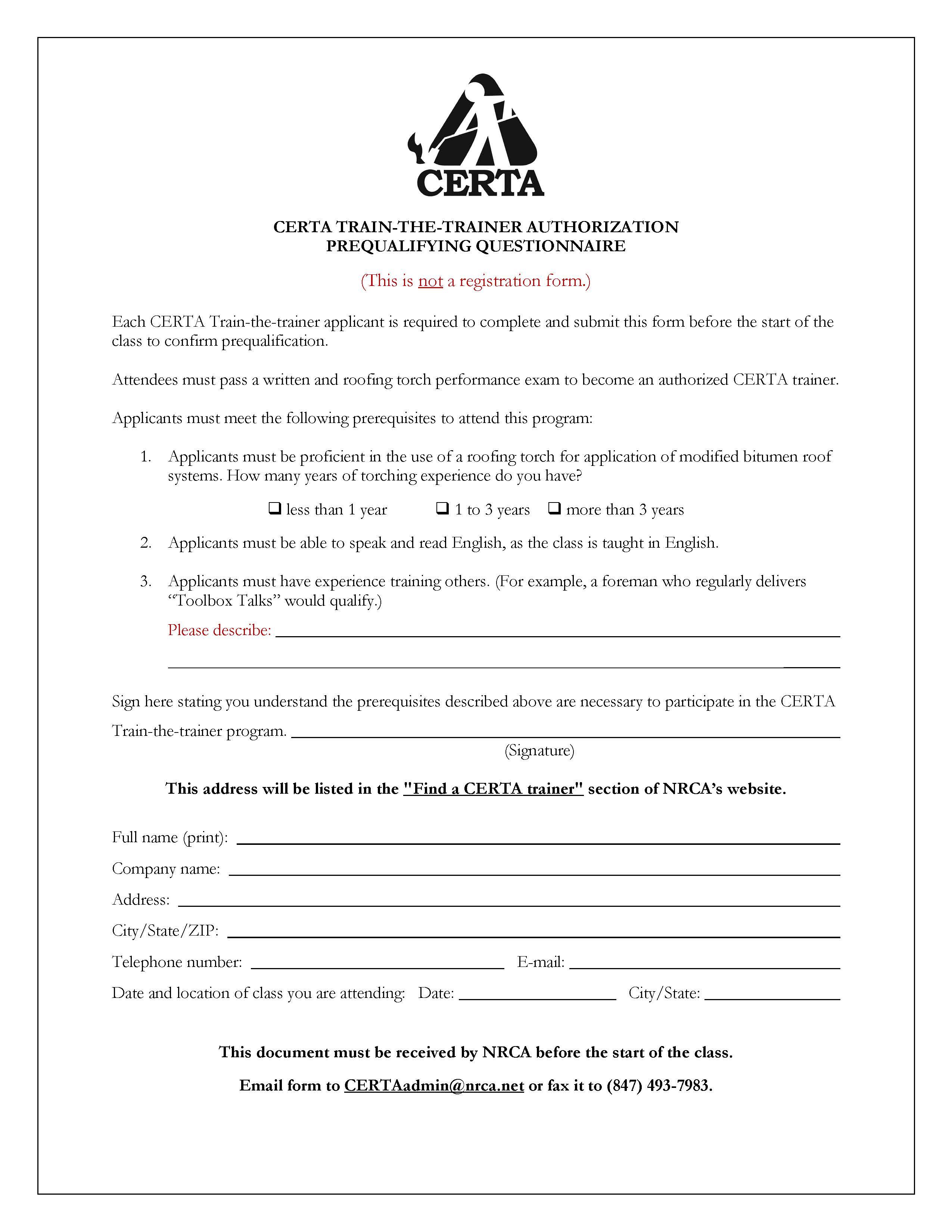 Prequalification Questionnaire 8-9-19